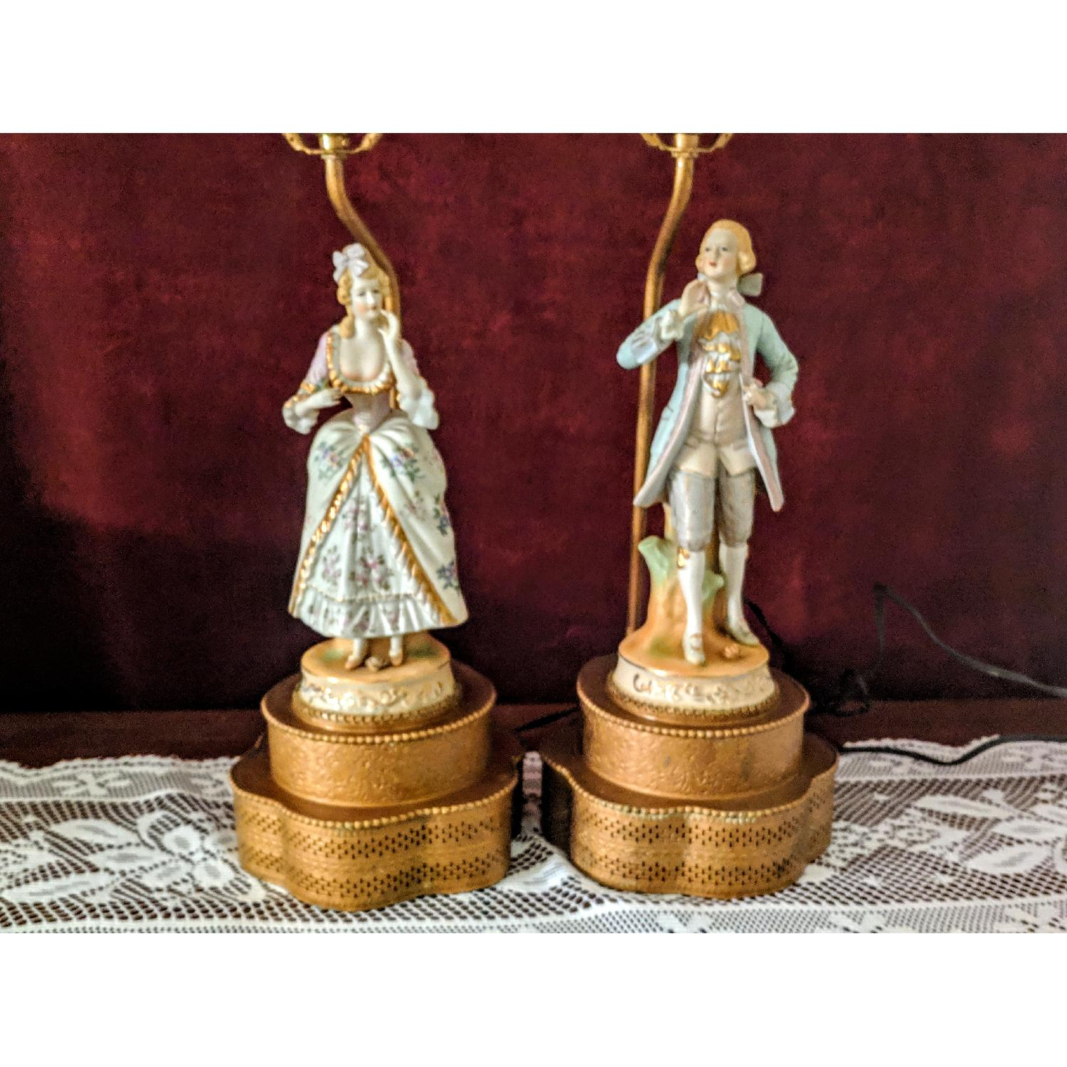 Antique Figurine Lamps w/ Metal Base-0