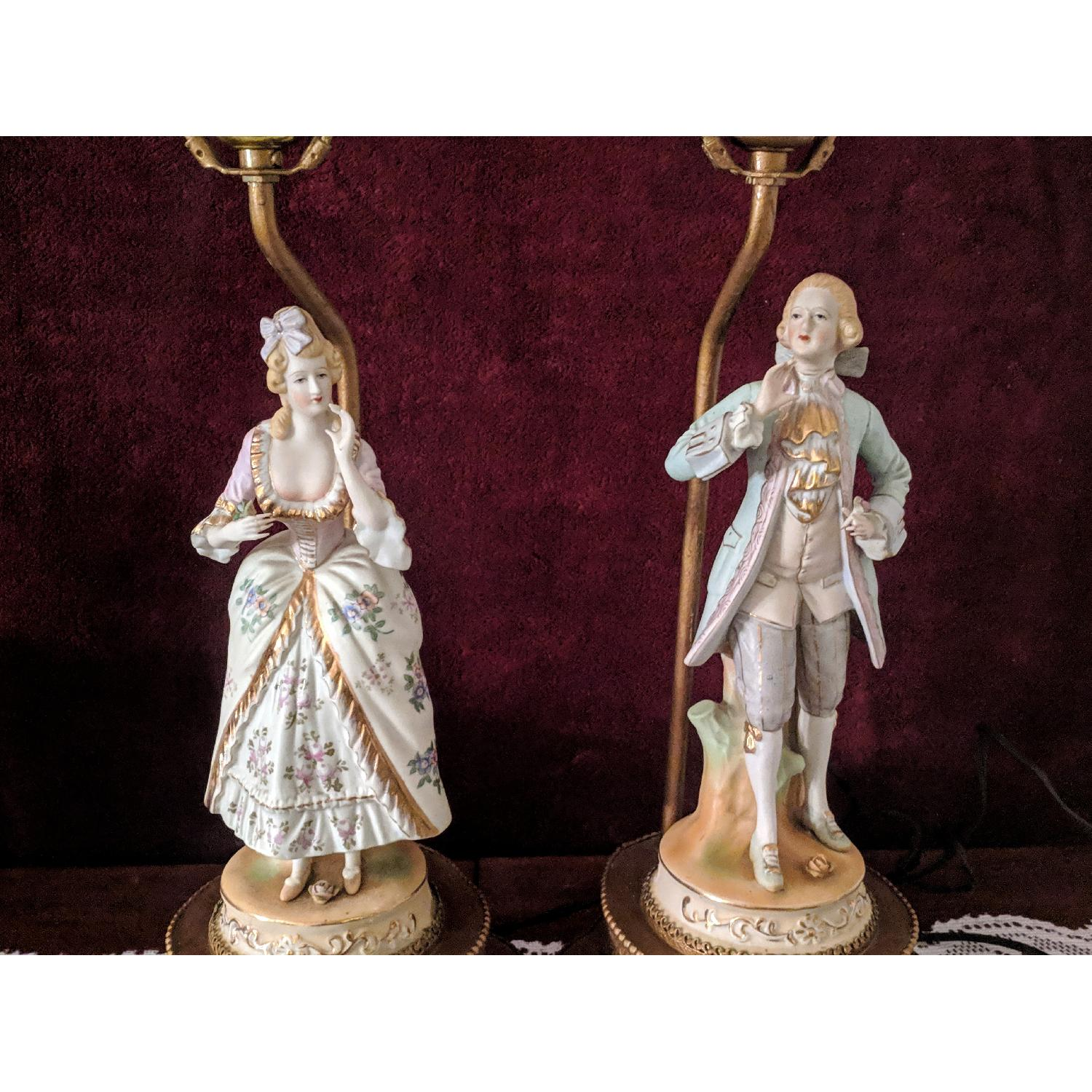 Antique Figurine Lamps w/ Metal Base-1