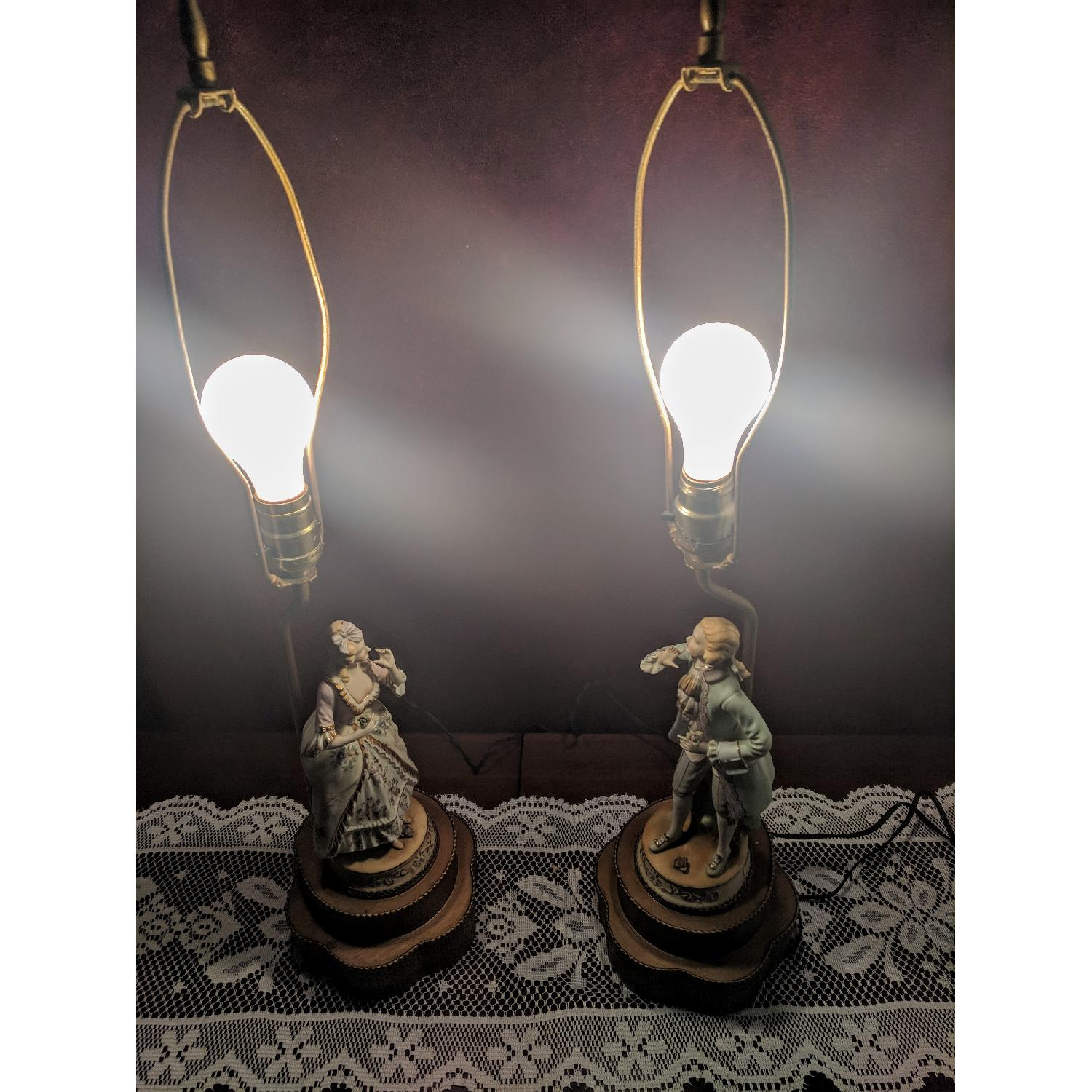 Antique Figurine Lamps w/ Metal Base-11