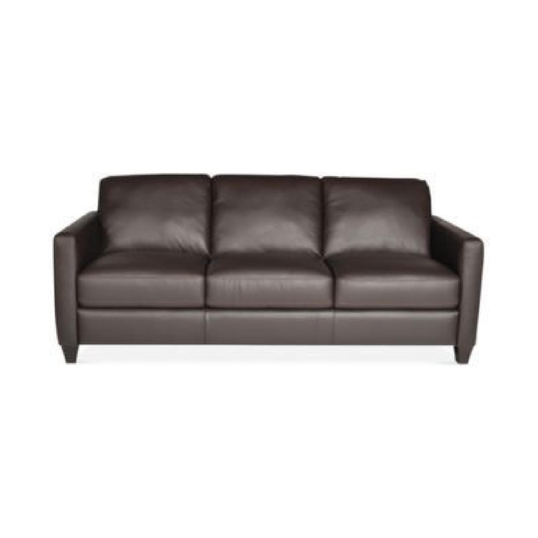 Exceptional Macyu0027s Natuzzi Emilia Leather Sofa In Brown   AptDeco