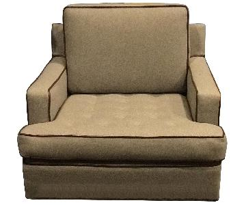 Gray Flannel Armchairs w/ Brown Leather Trim