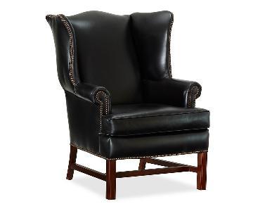 Pottery Barn Black Thatcher Leather Armchair