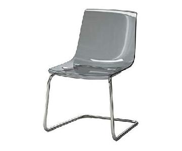Ikea Grey Chrome-Plated Swerve Chairs