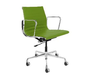 Eames Green Leather Ribbed Office Management Chair