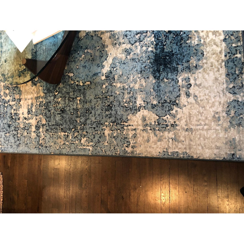 Blue & Ivory Patterned Rug-0