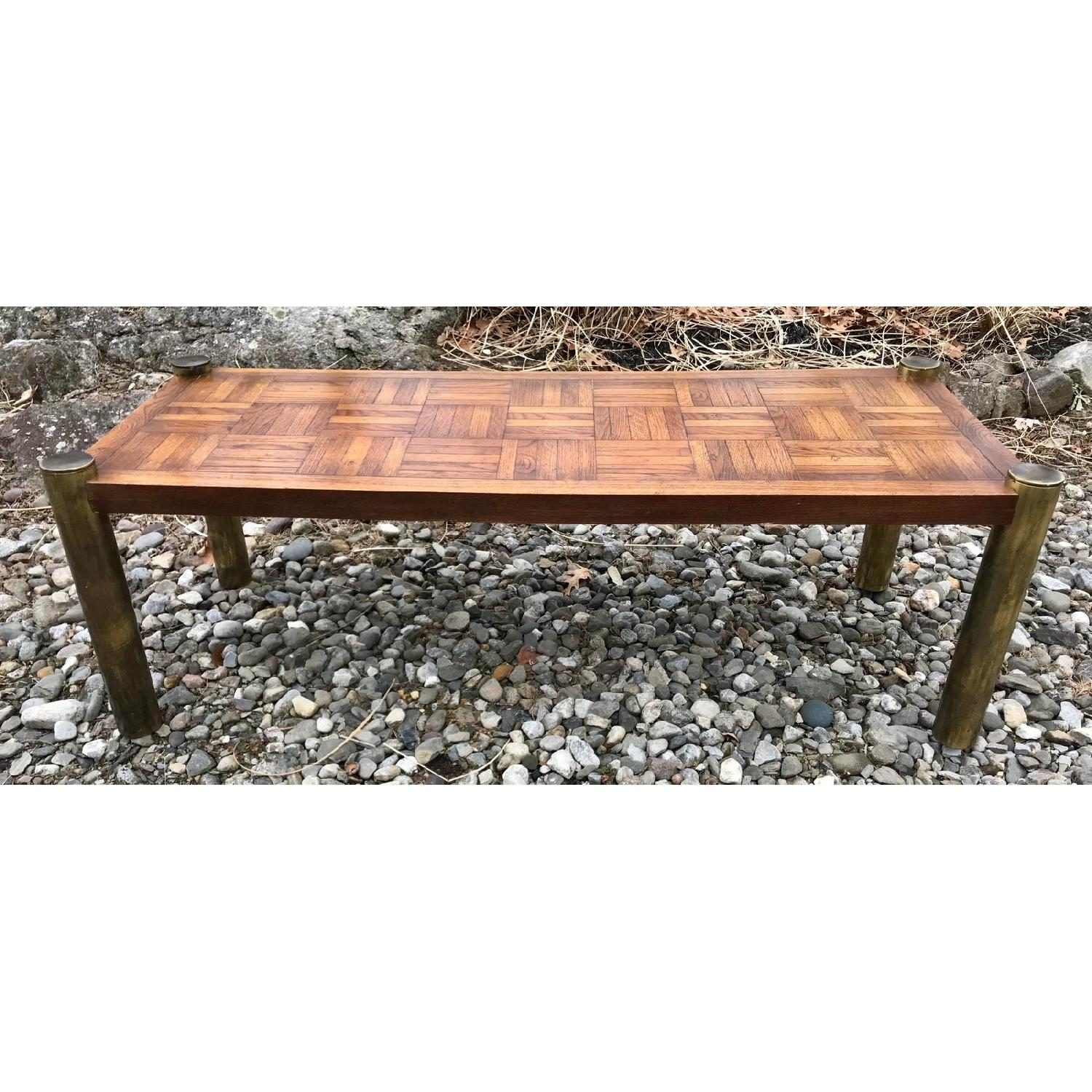 Lane Mid Century Brass U0026 Parquet Coffee Table