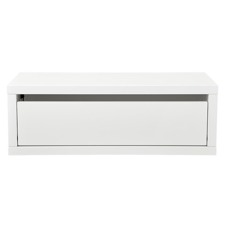 CB2 White Lacquer Storage Shelf