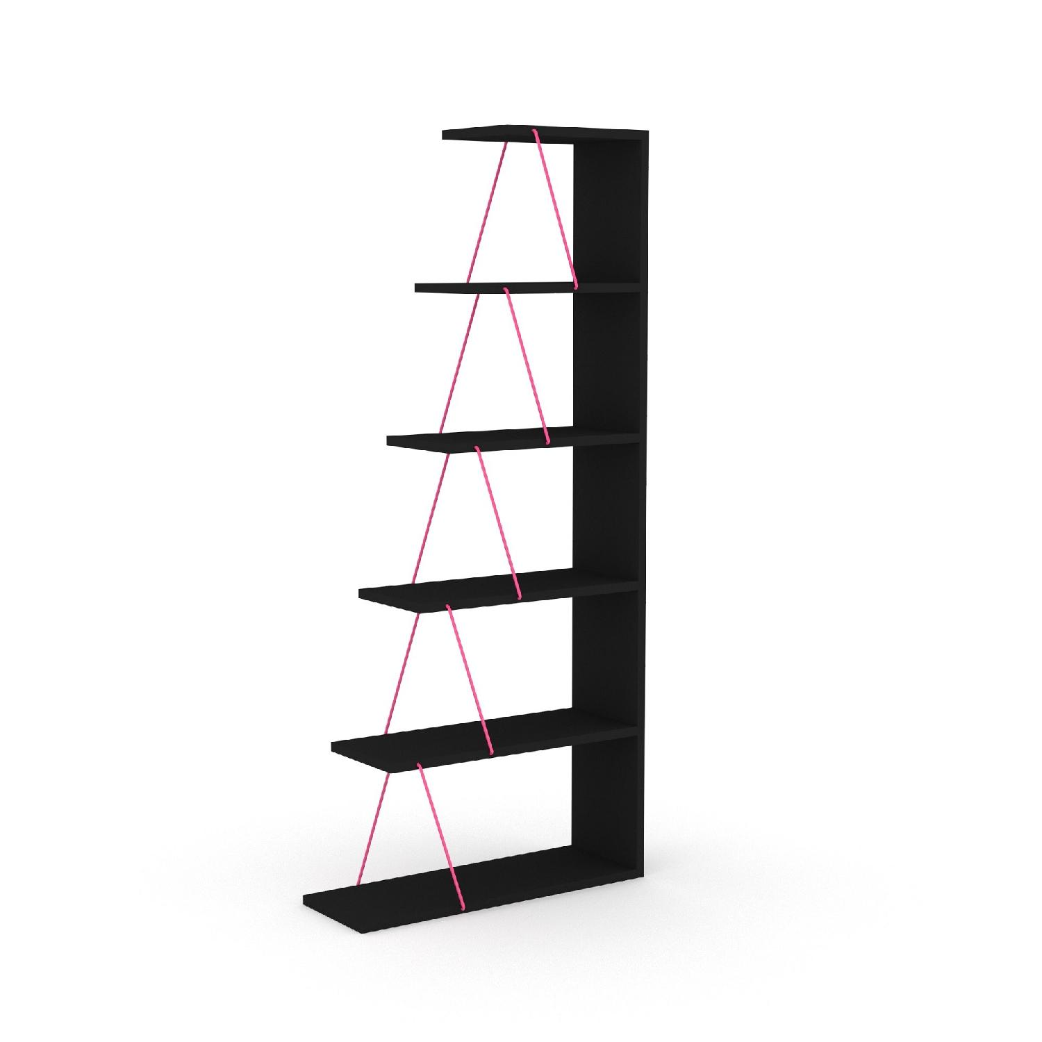 Tamada Trading Orderly Bookshelf in Black & Pink