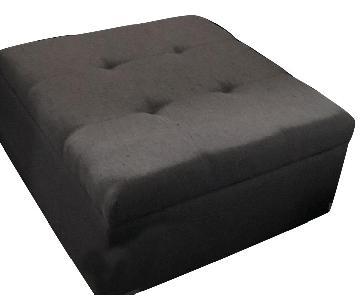 Ashley Square Ottoman in Grey Microfiber Fabric