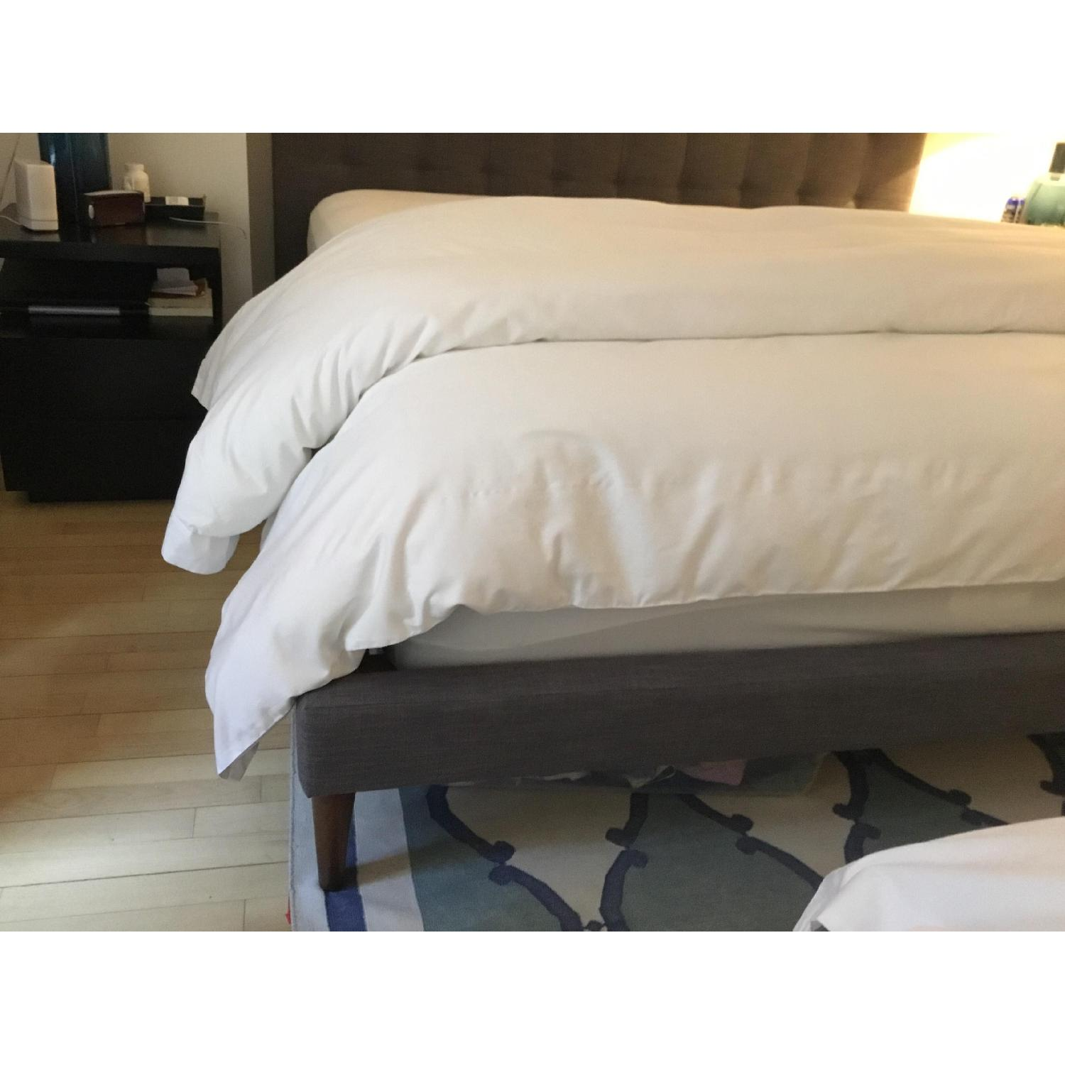 West Elm Tapered Leg Linen King Bed w/ Grid Tufted Headboard-3