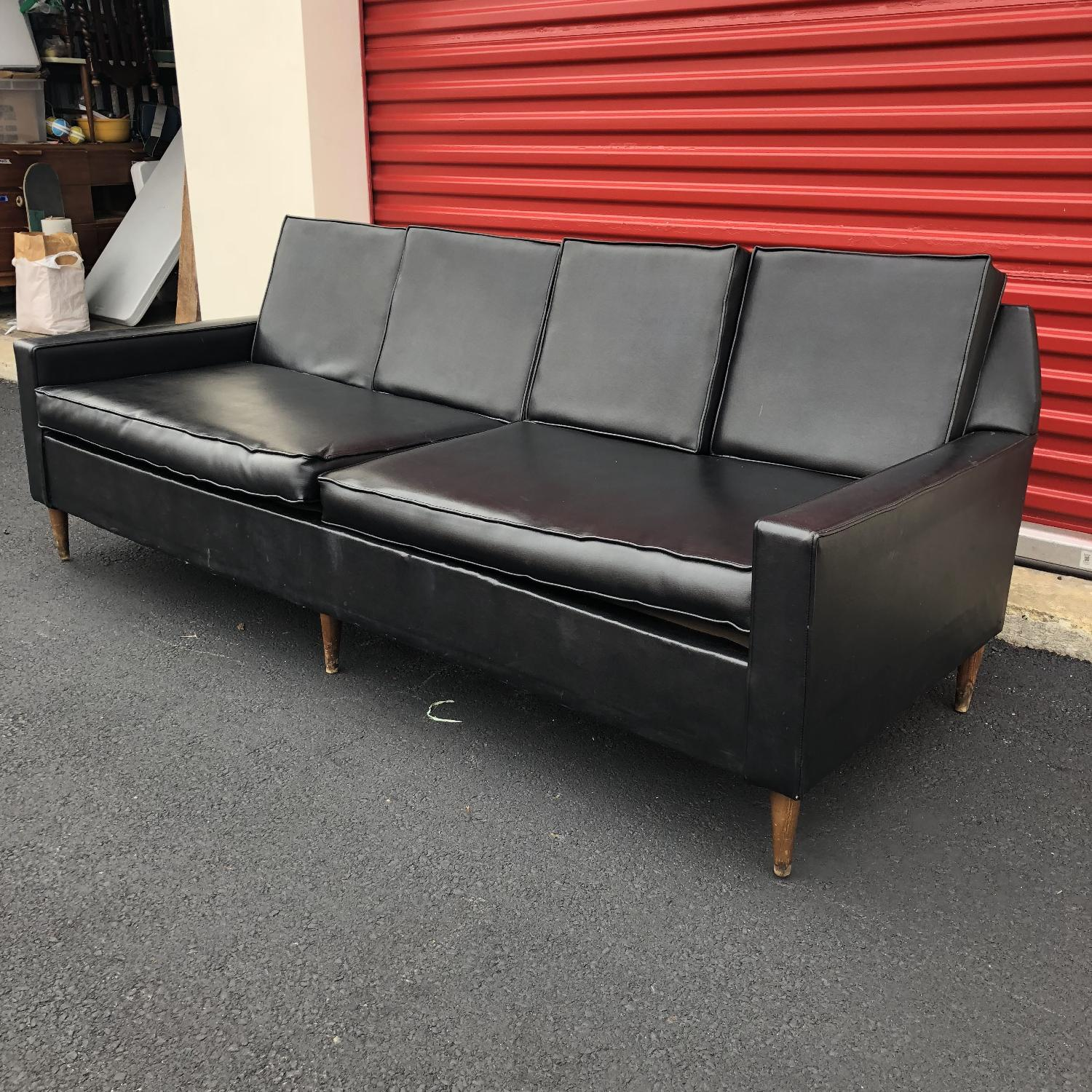 Remarkable Mid Century Modern Black Vinyl Sofa Aptdeco Dailytribune Chair Design For Home Dailytribuneorg