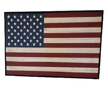 Framed Canvas Wall Art - American Flag