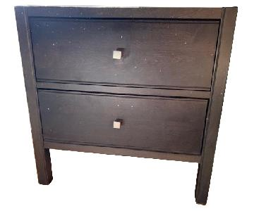 Crate & Barrel Wenge 2-Drawer Nightstand
