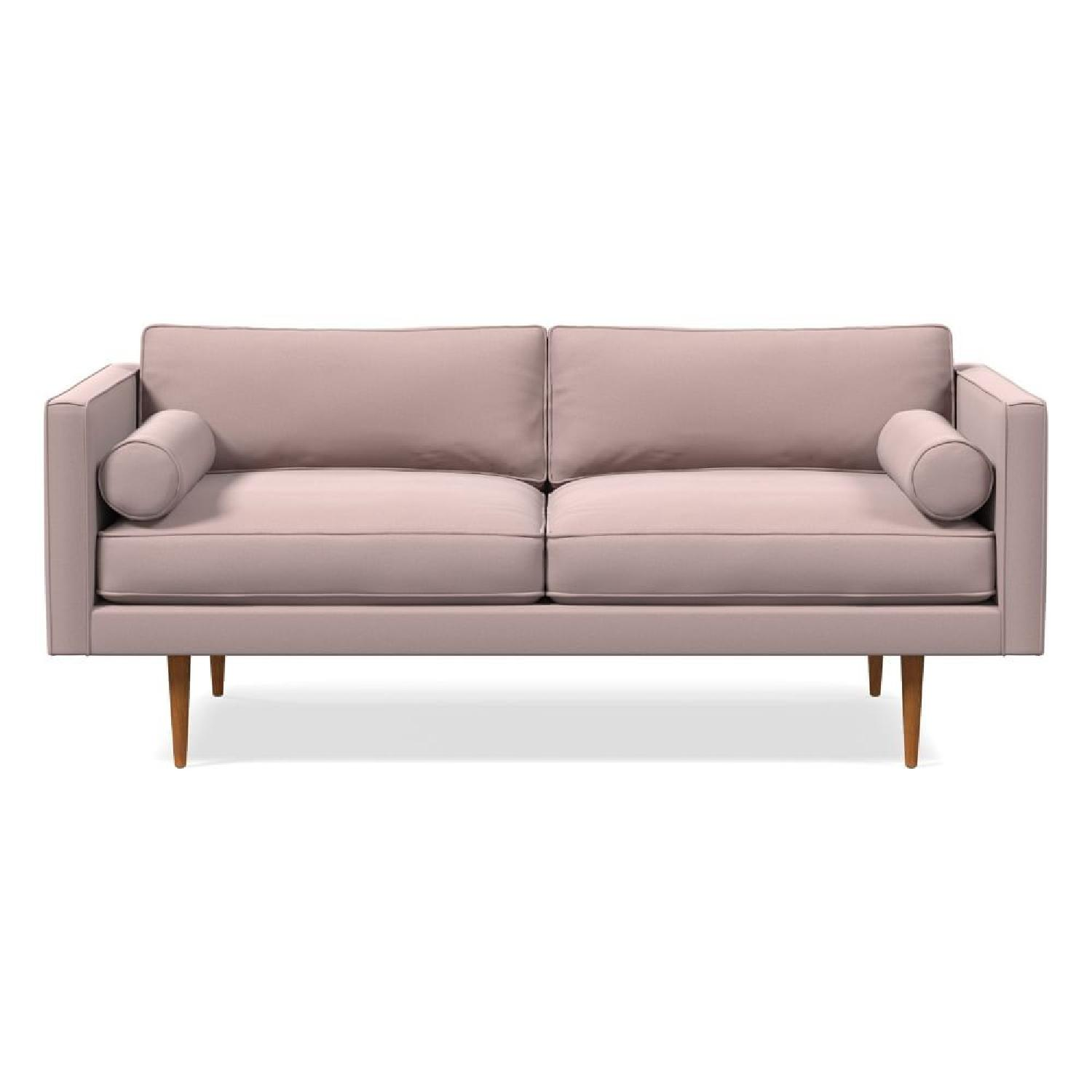 West Elm Monroe Mid-Century Sofa in Blush Velvet