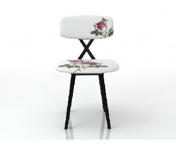 Moooi White Floral Padded Dining Chairs