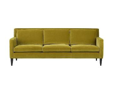 Crate & Barrel Mustard Velvet 3 Seater Sofa