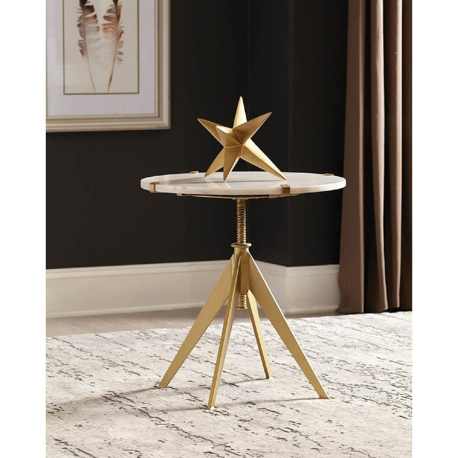 Modern Height Adjustable Accent Table w/ Marble Top - image-2