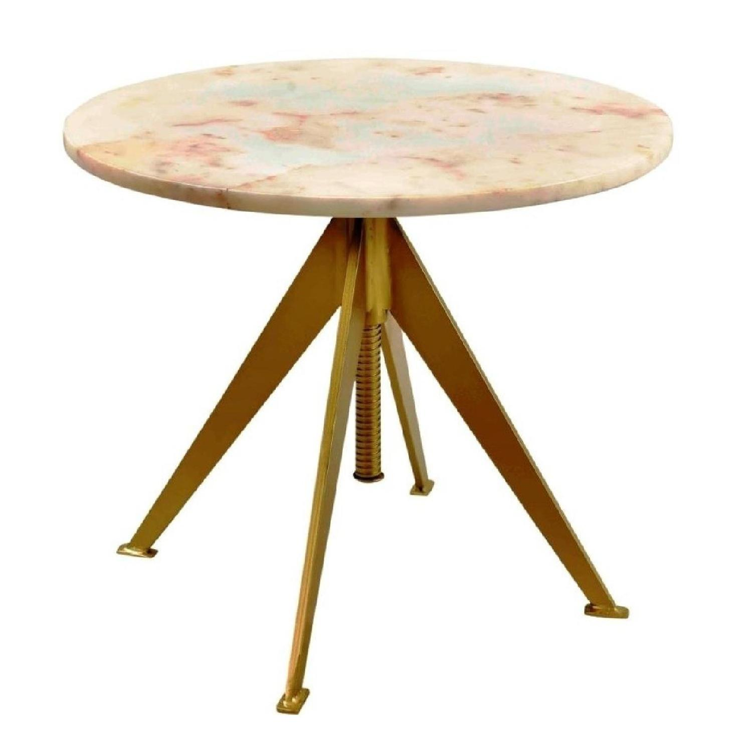 Modern Height Adjustable Accent Table w/ Marble Top