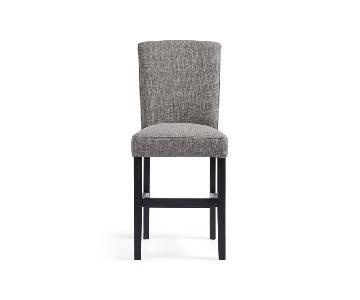 Arhaus Grey Fabric & Dark Wood Counter Bar Stools