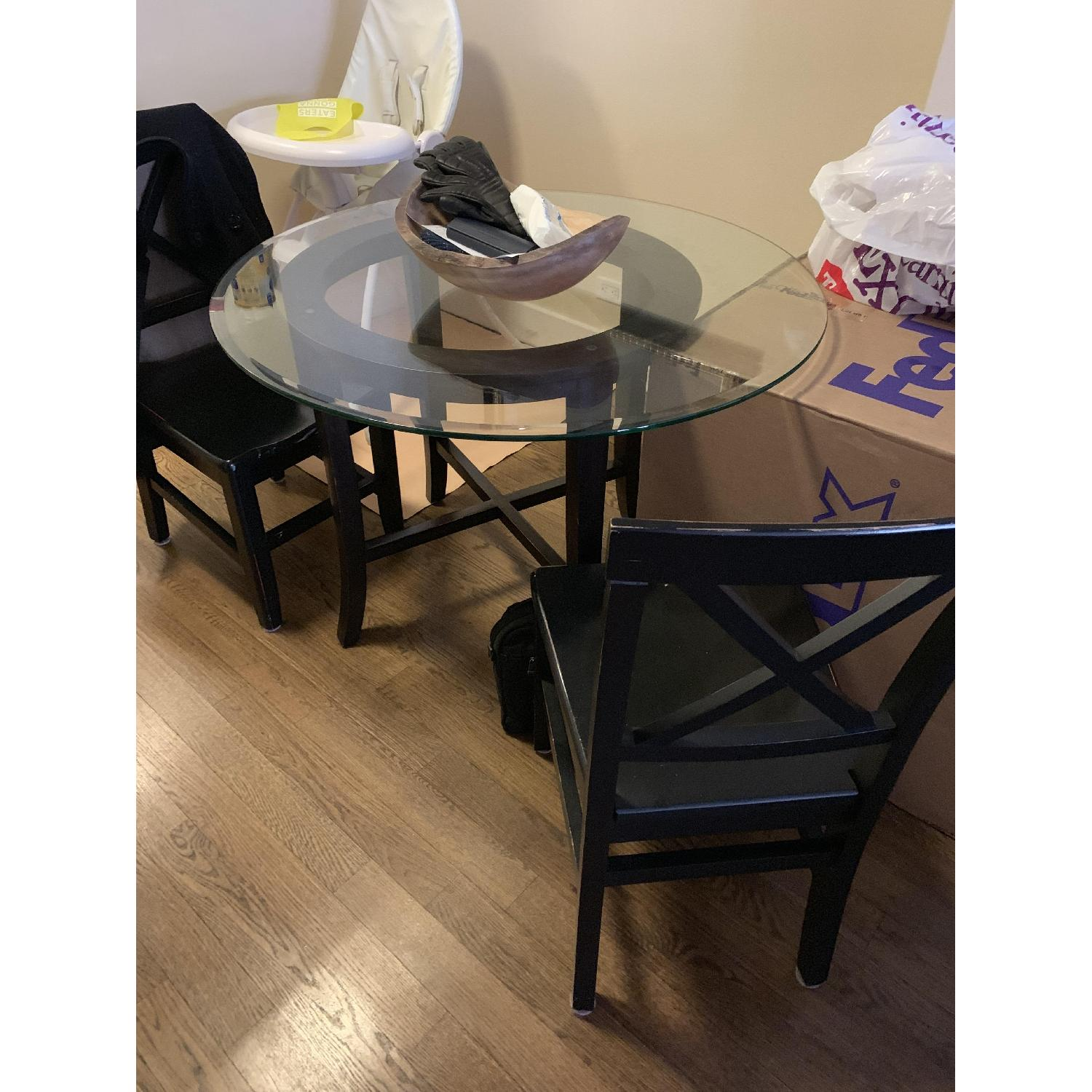 Crate & Barrel Halo Ebony Glass Top Dining Table w/ 2 Chairs-0