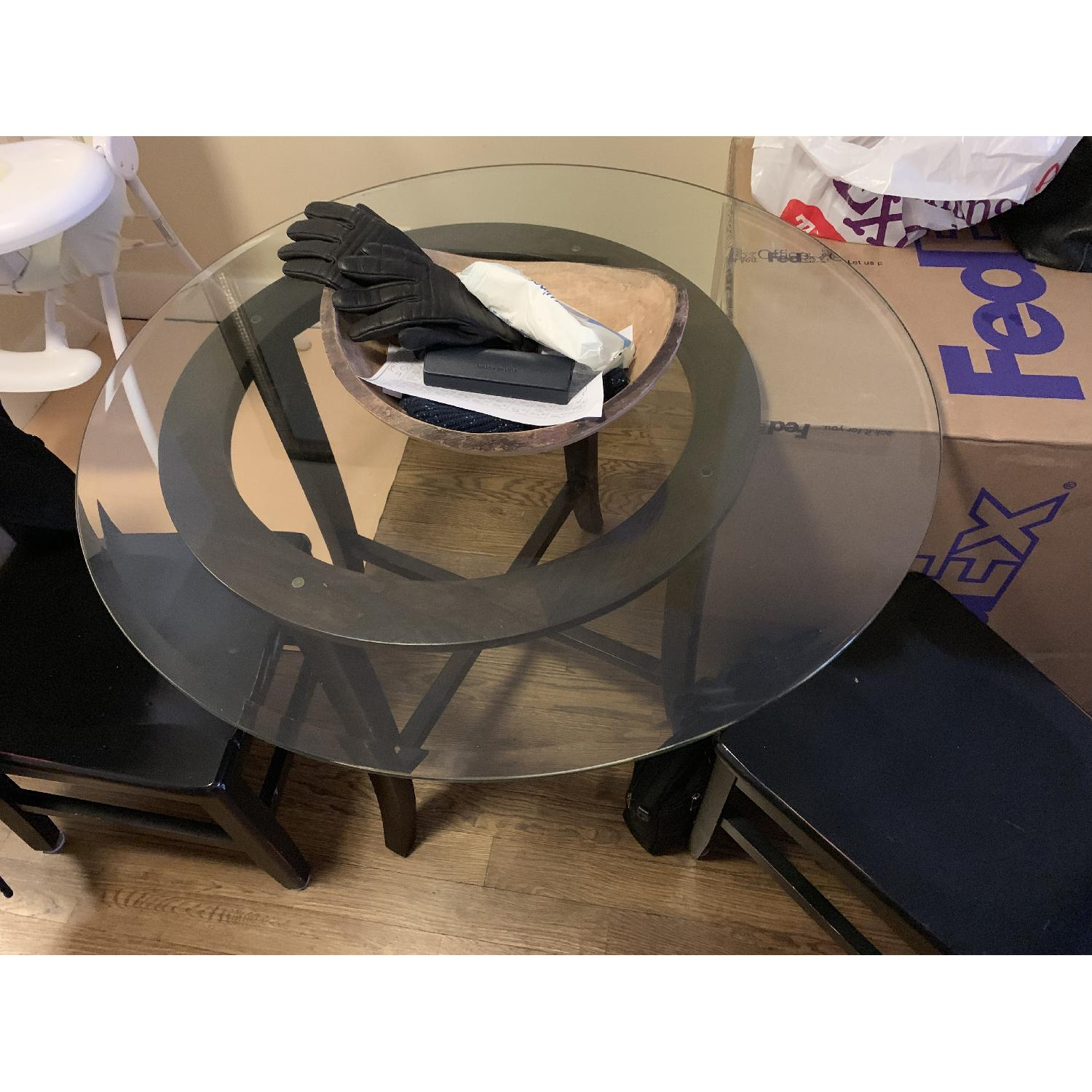 Crate & Barrel Halo Ebony Glass Top Dining Table w/ 2 Chairs-1