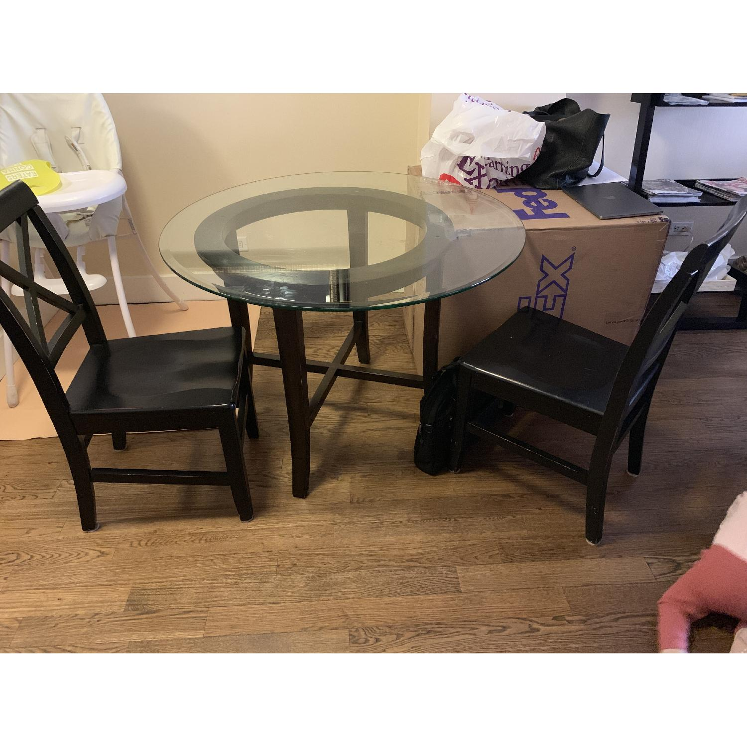 Crate & Barrel Halo Ebony Glass Top Dining Table w/ 2 Chairs-2