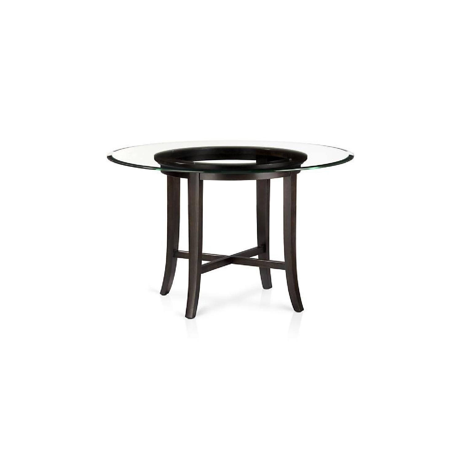 Crate & Barrel Halo Ebony Glass Top Dining Table w/ 2 Chairs-3