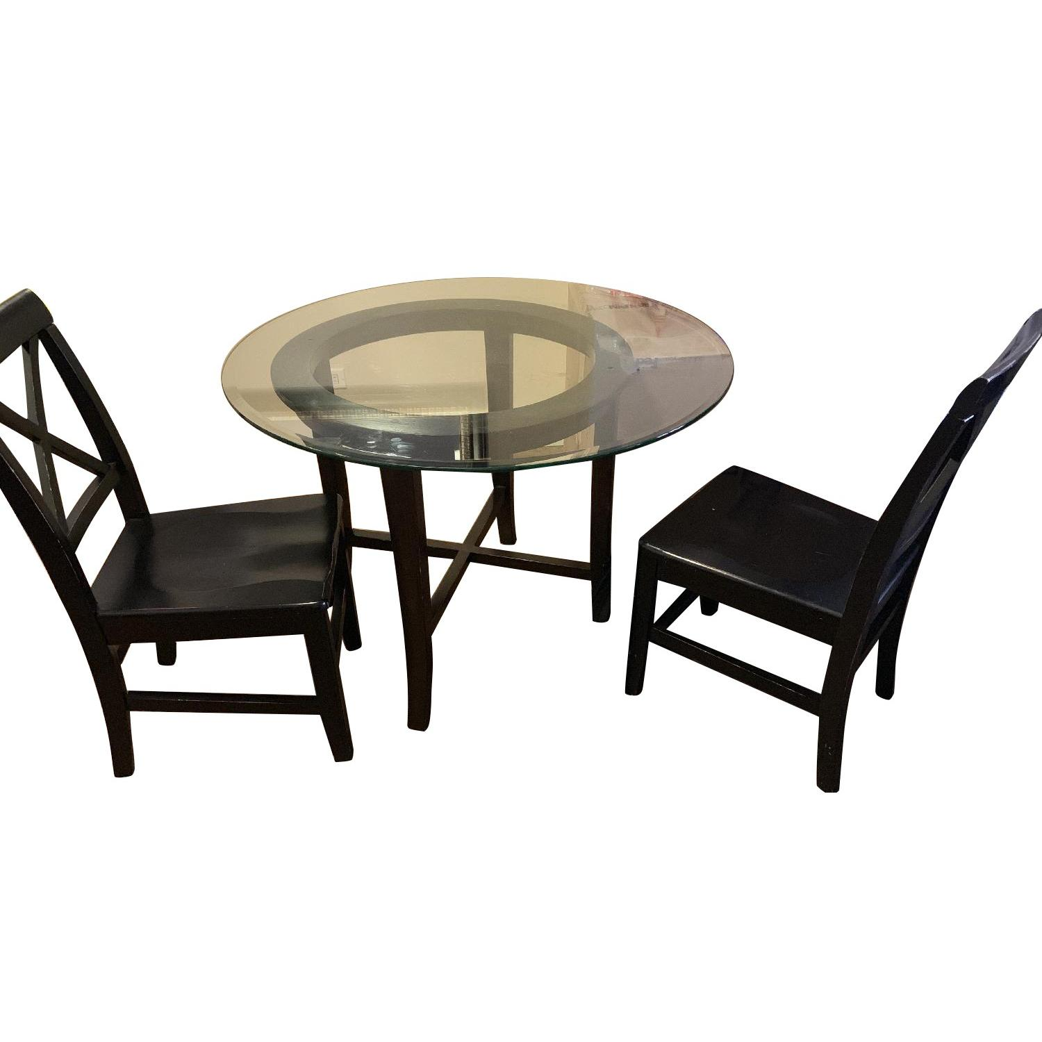 Crate Barrel Halo Ebony Glass Top Dining Table W 2 Aptdeco - Glass-topped-dining-room-tables