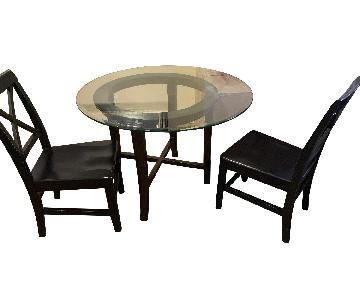 Crate & Barrel Halo Ebony Glass Top Dining Table w/ 2 Chairs