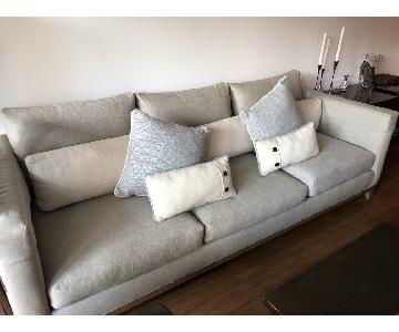 Crate & Barrel 3-Seat Taraval Sofa in Stonewash Linen