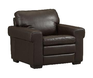 Havertys Brown Leather Chair & Ottoman