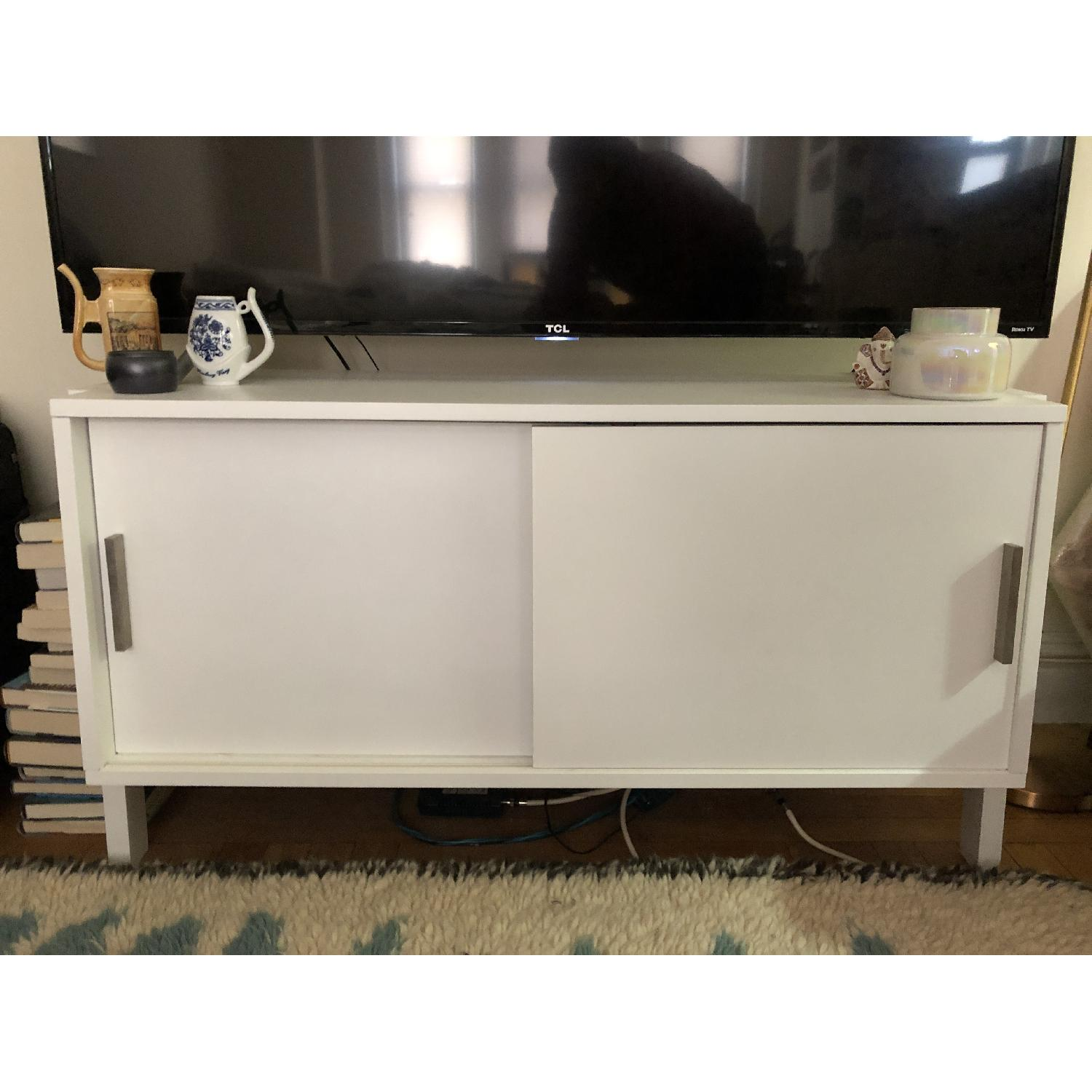Crate & Barrel Sawyer Low White Media Stand-1