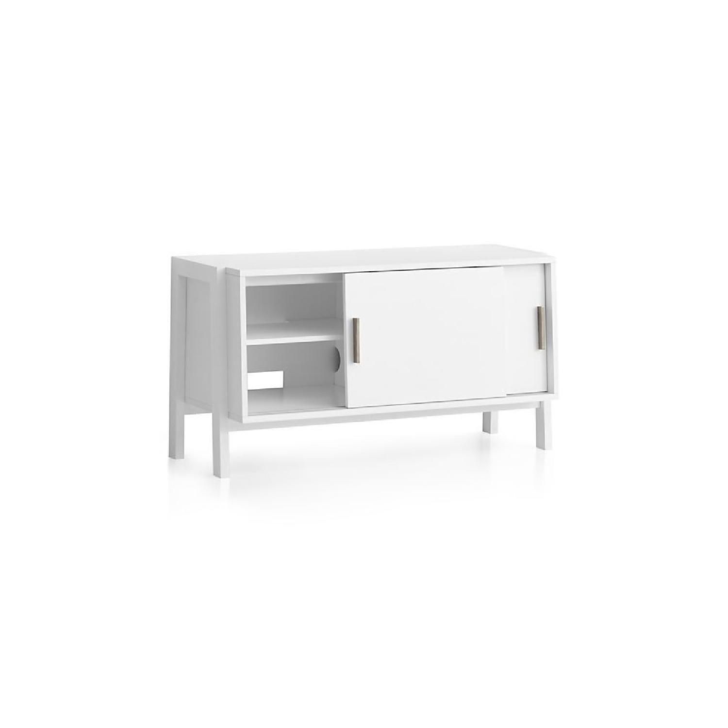 Crate & Barrel Sawyer Low White Media Stand-2