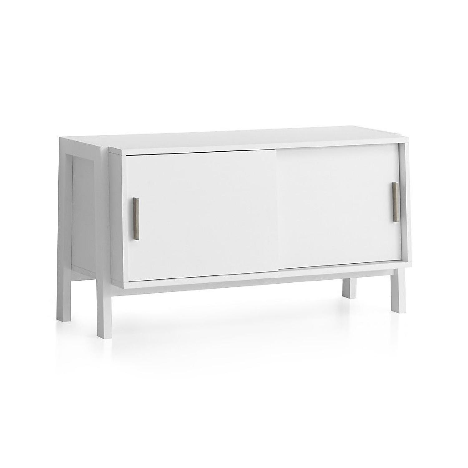 Crate & Barrel Sawyer Low White Media Stand