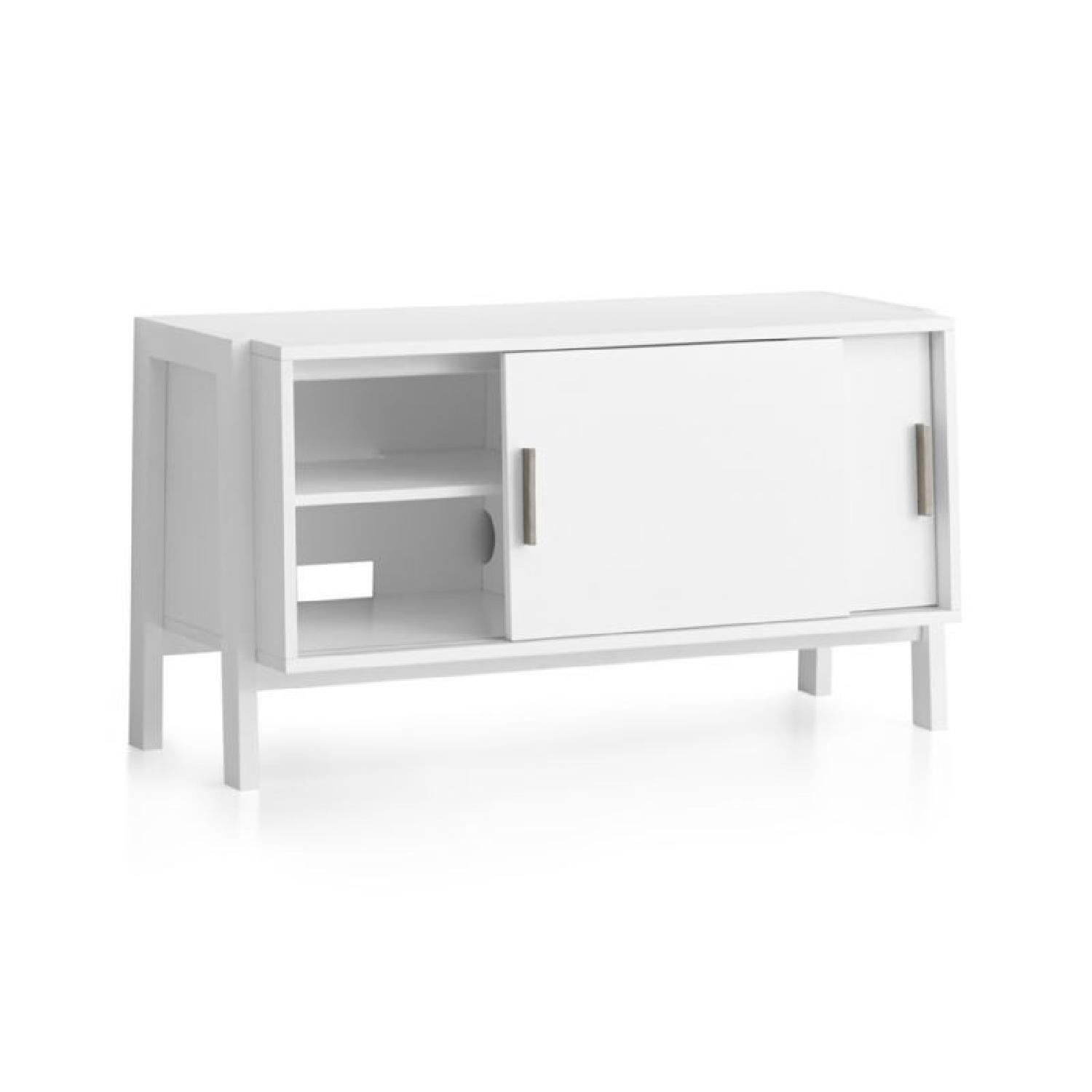 Crate & Barrel Sawyer Low White Media Stand-5