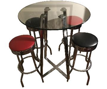 Tempered Glass Top/Chrome Base High Top Table w/ 4 Barstools