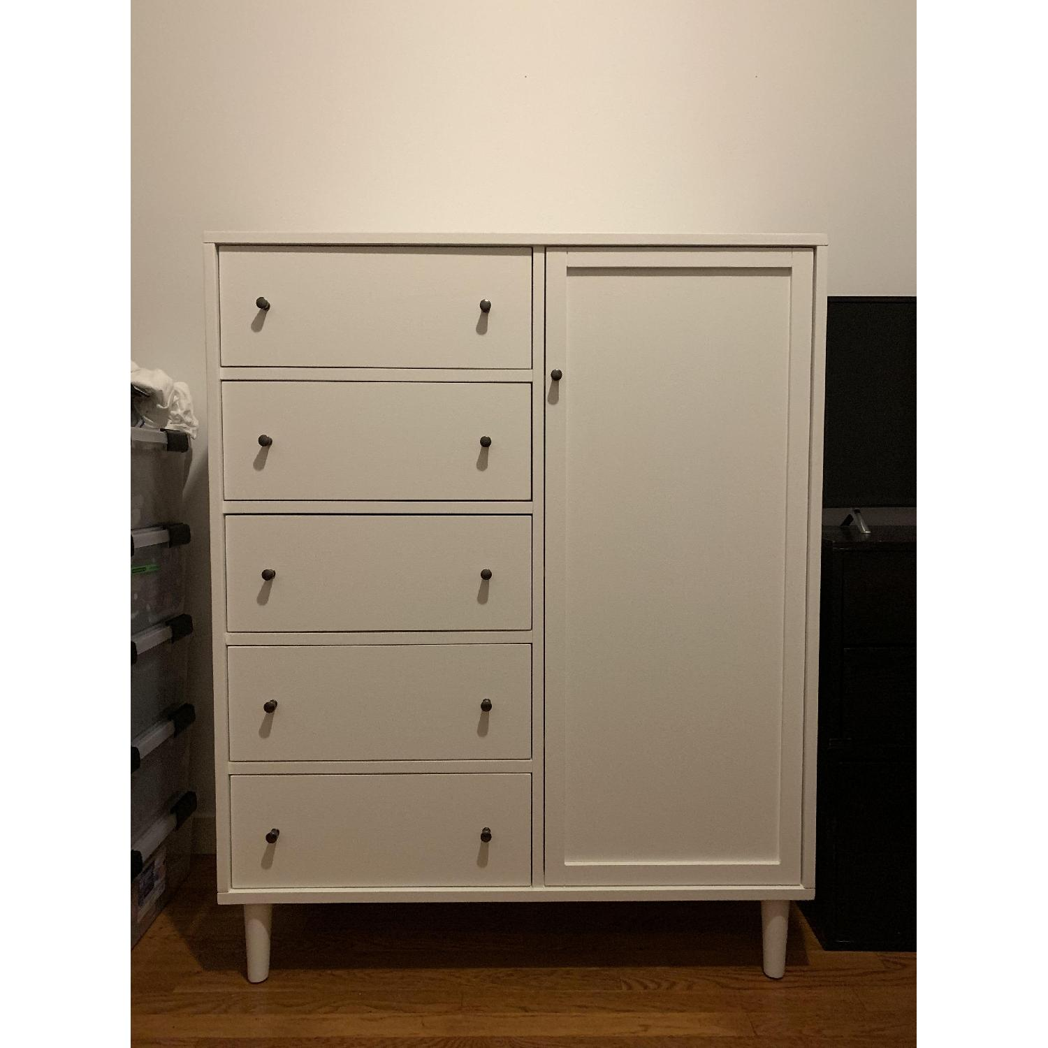 Crate & Barrel Barnes Solid Wood White Wardrobe-0