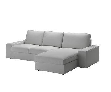 Ikea Light Grey 2-Piece Sectional Sofa