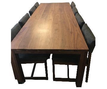 De La Espada Walnut Table w/ 10 Grey Chairs