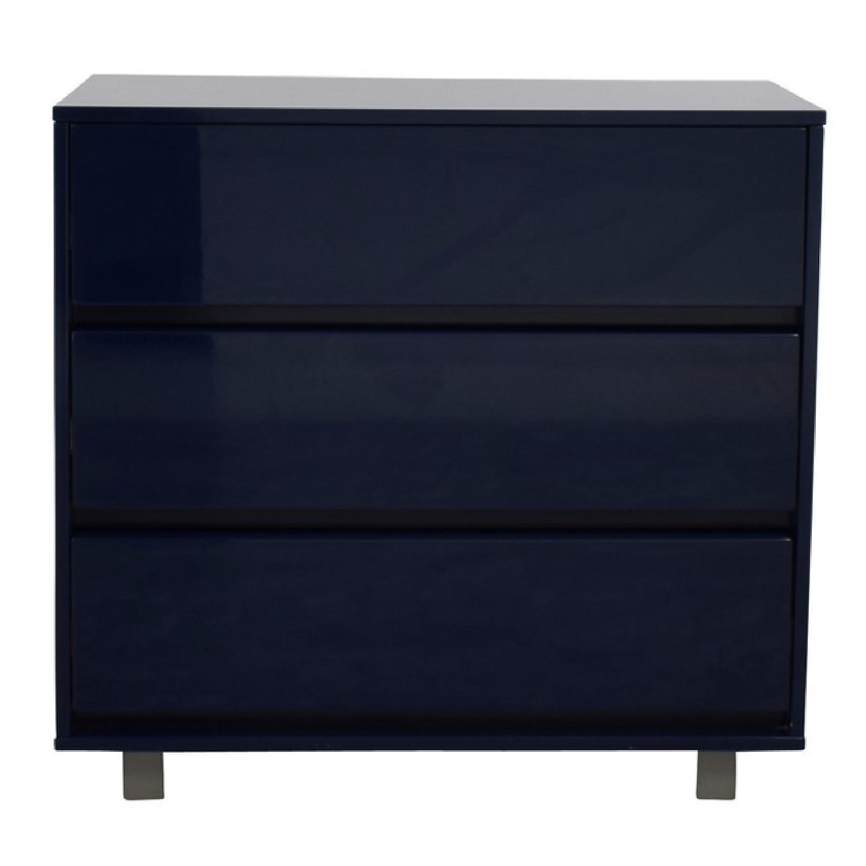 CB2 Shop 3 Drawer Blue Lacquer Dresser