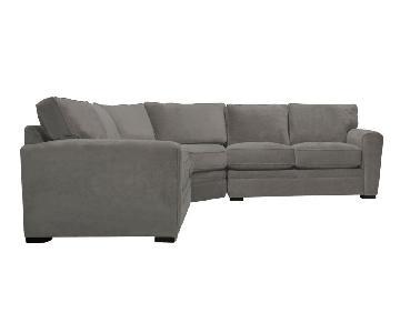 Raymour & Flanigan Grey 3-Piece Sectional Sofa