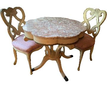 Vintage 1940s Marble-Top Table w/ 2 Matching Chairs