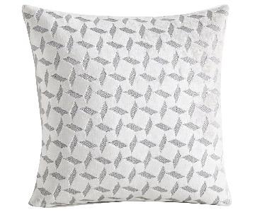 West Elm Gray Velvet Pinwheel Jacquard Pillows w/ Inserts