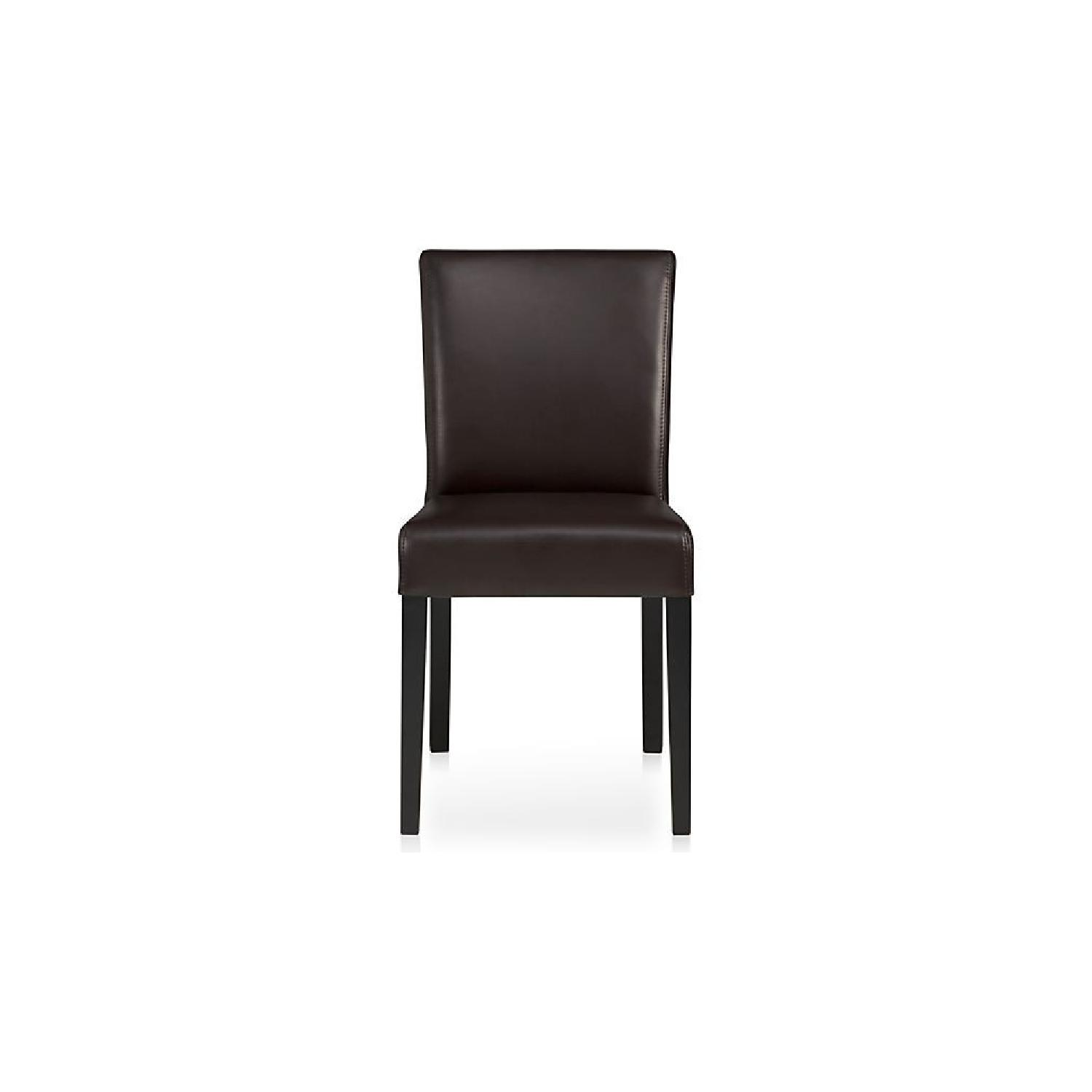 Crate & Barrel Lowe Chocolate Leather Dining Chairs