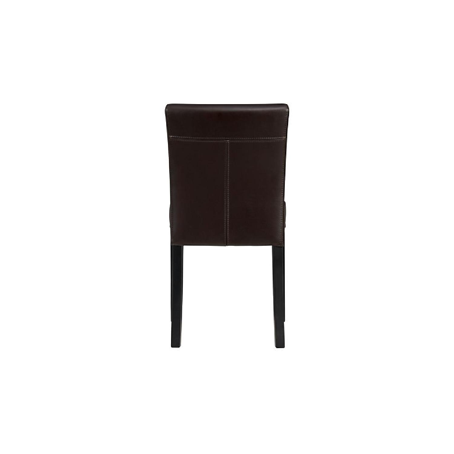 Crate & Barrel Lowe Chocolate Leather Dining Chairs-0