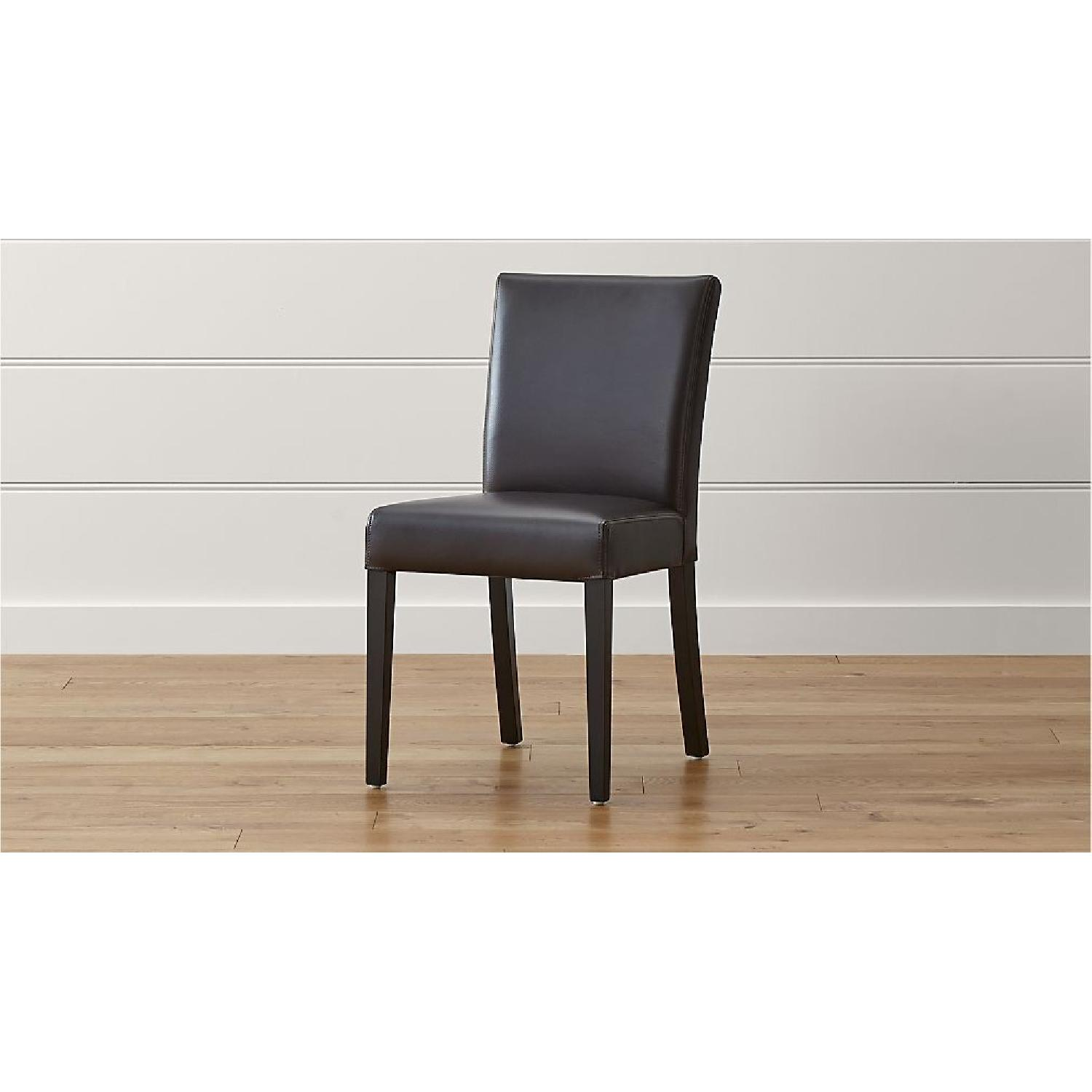 Crate & Barrel Lowe Chocolate Leather Dining Chairs-1