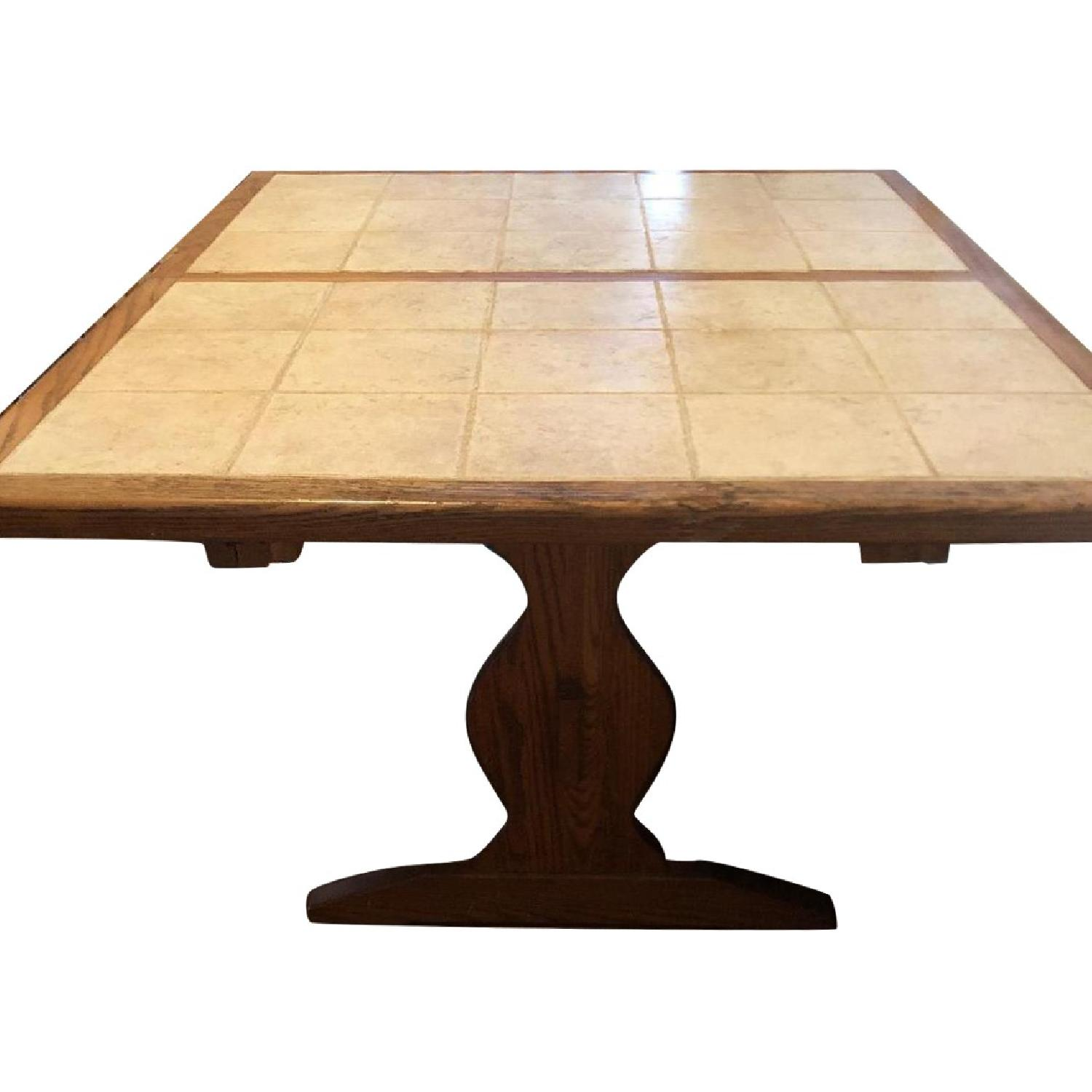 Tile Top Oak Extension Dining Table w/ 4 Chairs