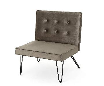 DuSoleil New Velvet Mid Century Modern Chair w/ Hair Pin Leg