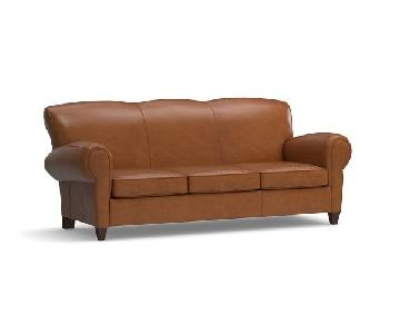Pottery Barn American Leather Roll Arm Caramel Leather Sofa
