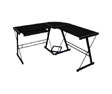 Walker Edison L-Shaped Desk w/ Tempered Glass
